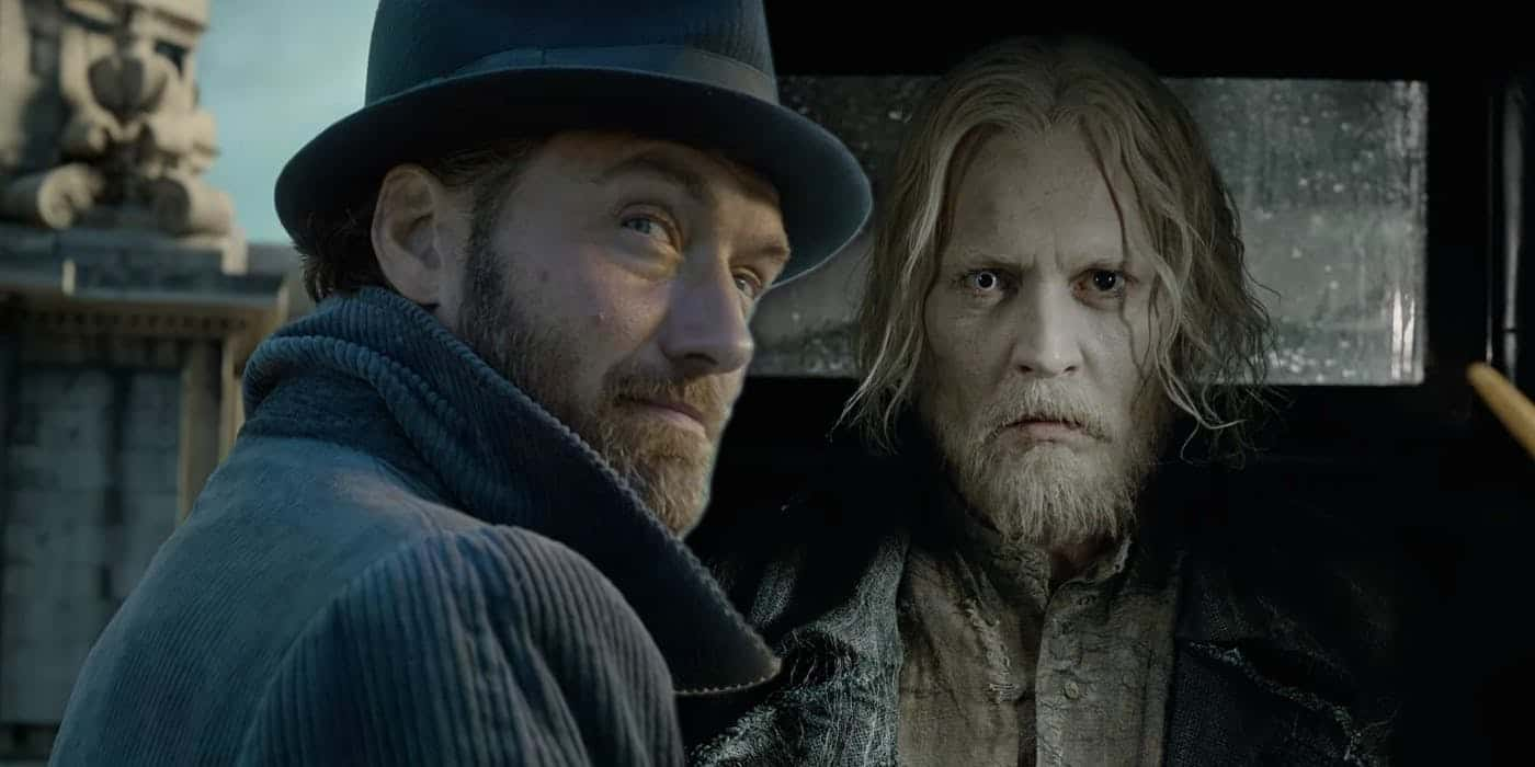 Johnny Depp cem cena de Animais Fantásticos: Os Crimes de Grindelwald com Jude Law, que interpreta Dumbledore