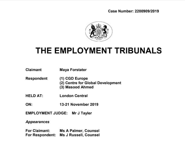 Sentença da Justiça do Trabalho do Reino Unido