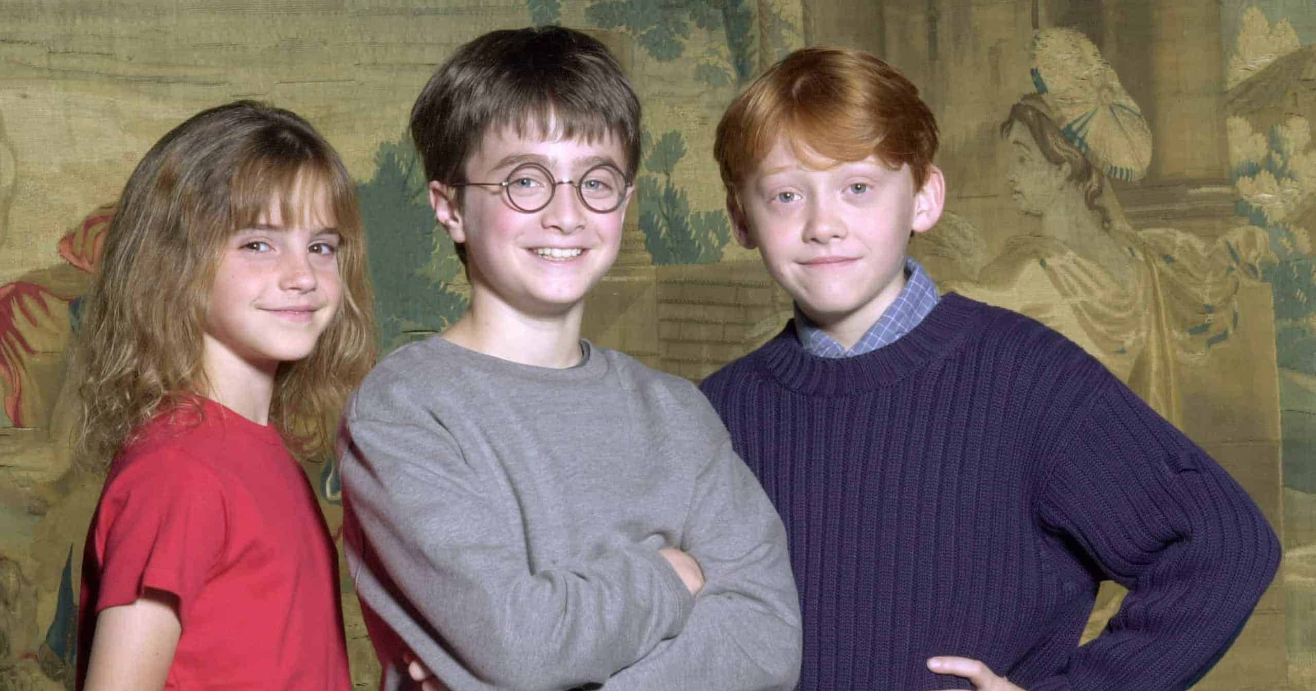 O trio de Harry Potter durante as gravações do primeiro filme