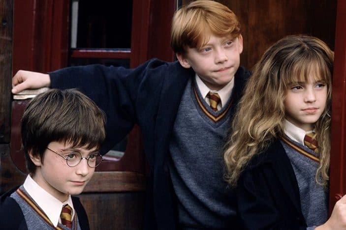Daniel Radcliffe (Harry Potter), Emma Watson e Rupert Grint crianças