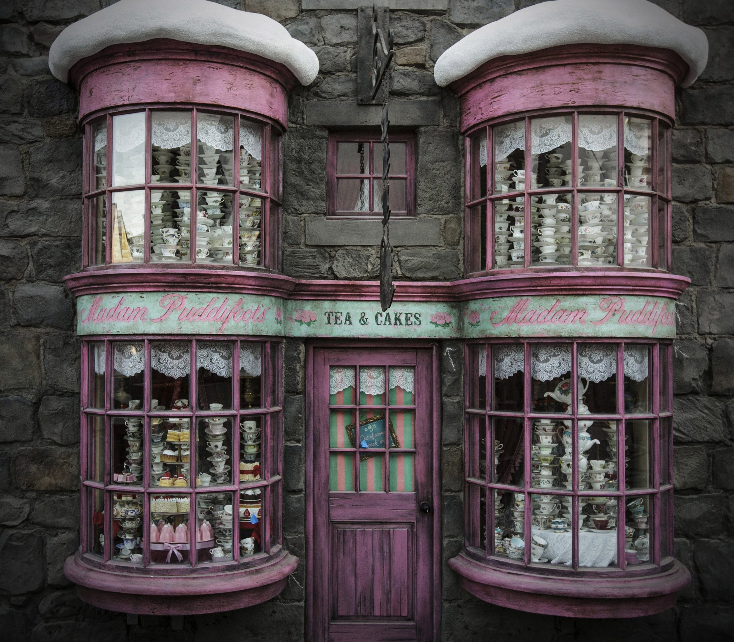 "Madam Puddifoot's tea shop, located in Hogsmeade village, is one of the many magic windows featured at ""The Wizarding World of Harry Potter"" at Universal Studios Hollywood"