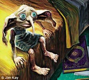 """Pelo bem do meu elfo: """"Dobby, o elfo doméstico é difícil, porque ele é muito popular. Ele é mais descrito no livro do que outros personagens. Seus olhos devem ser do tamanho de bolas de tênis, mas quando você faz isso fica muito Disney. Eu fiz um modelo de massinha e o posicionei. Essa imagem foi minha quarta tentativa""""."""