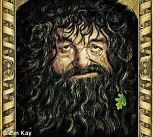 """Sir Winston... Hagrid! """"Amo desenhar Hagrid. Eu procurei olhos de alcóolicos. Esses são de Winston Churchill, que tem olhos maravilhosos: meio amarelados. Ele tem o nariz de um cara que eu vi em Kettering e a boca de outra pessoa. Originalmente, ele se parecia muito com o comediante Mel Smith. Suas roupas são inspiradas em um cara velho que eu vi vestindo uma camiseta de heavy metal"""""""