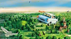 """O Ford Anglia voador usado por Harry Potter e Rony Weasley para chegar em Hogwarts em """"A Câmara Secreta"""""""