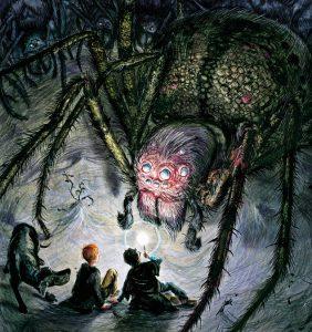 """Argh! Tudo é Aragogue: """"Eu me lembrei imediatamente de Shelob, a aranha em """"O Senhor dos Anéis"""". A descrição de Aragogue se parece muito com ela. Eu amo aranhas. Elas são lindas. Nós temos uma fantástica variedade de aranhas em casa. Elas apenas vivem lá, mas eu ocasionalmente as encorajo, alimentando-as. Você deveria dar boas-vindas a aranhas em sua casa. Se não fossem por elas, teríamos sabe-se lá Deus o quê para lidar."""