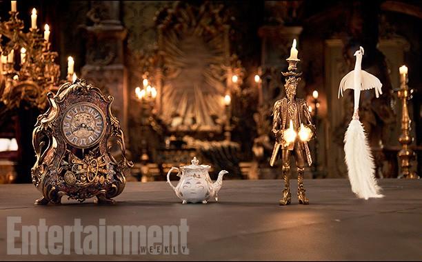 Ian McKellen(Horloge), Emma Thompson (Mrs. Potts), Ewan McGregor (Lumière) and Gugu Mbatha-Raw (Plumette)