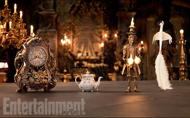 Ian McKellen(Horloge), Emma Thompson (Mrs. Potts), Ewan McGregor (Lumière) and Gugu Mbatha-Raw (Plumette)