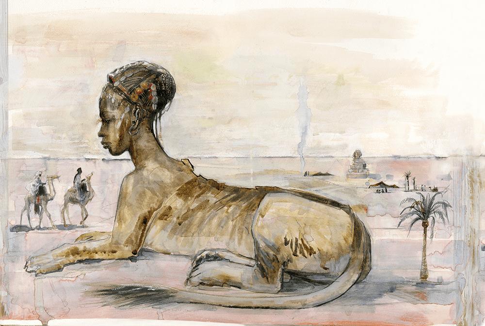 Criatura com corpo de leão e cabeça de mulher.