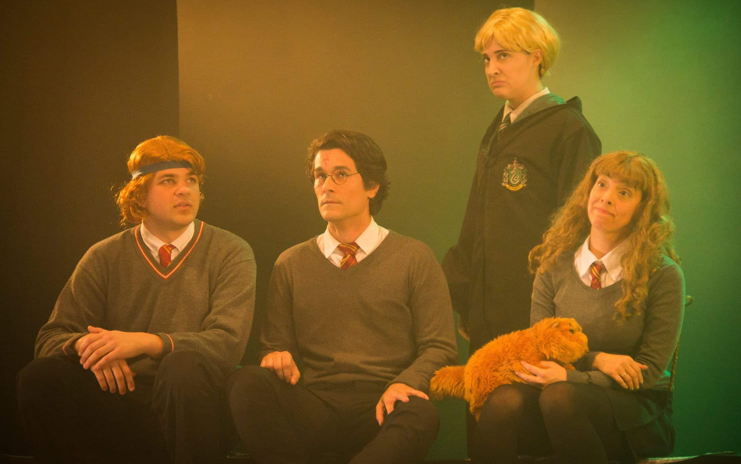 Rony, Harry, Hermione e Malfoy na versão brasileira de A Very Potter Musical