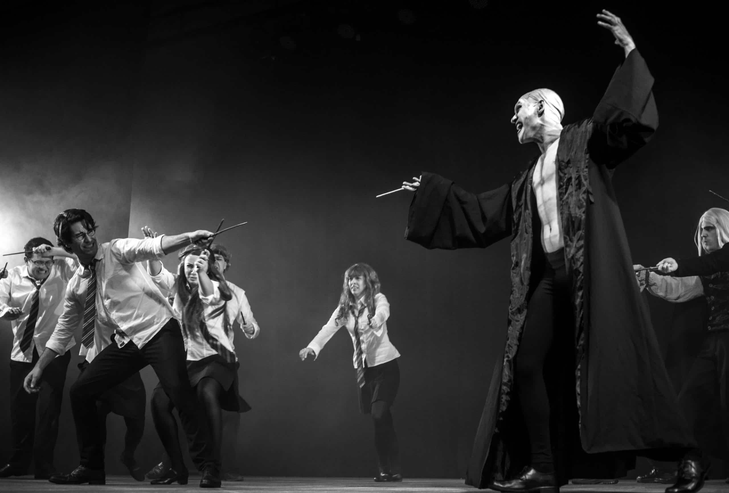 Armada de Dumbledore luta contra Voldemort e Comensais da Morte em cena de A Very Potter Musical