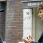 David Yates talks with Eddie Redmayne in the Fantastic Beasts' set