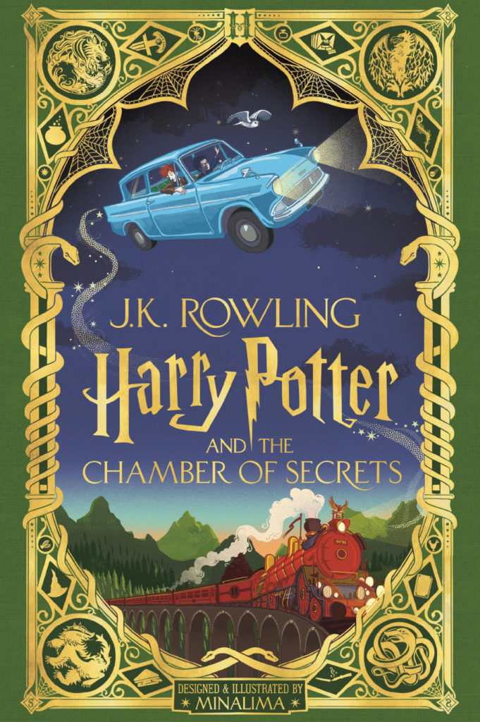 Cover of Harry Potter and the Chamber of Secrets, minalima studio