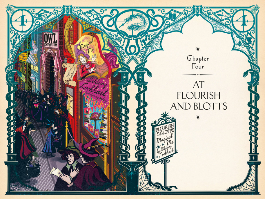 The Floreios & Blurs store in Harry Potter and the Chamber of Secrets, illustrated by minalima studio