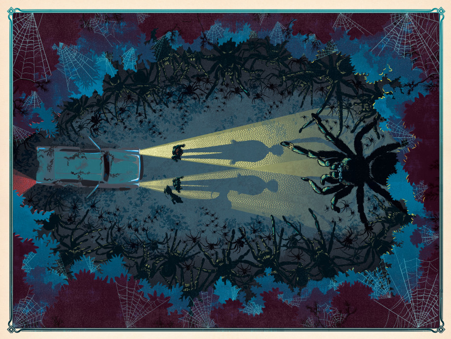 A Floresta Proibida em Harry Potter e a Câmara Secreta, ilustrada pelo estúdio MinaLima