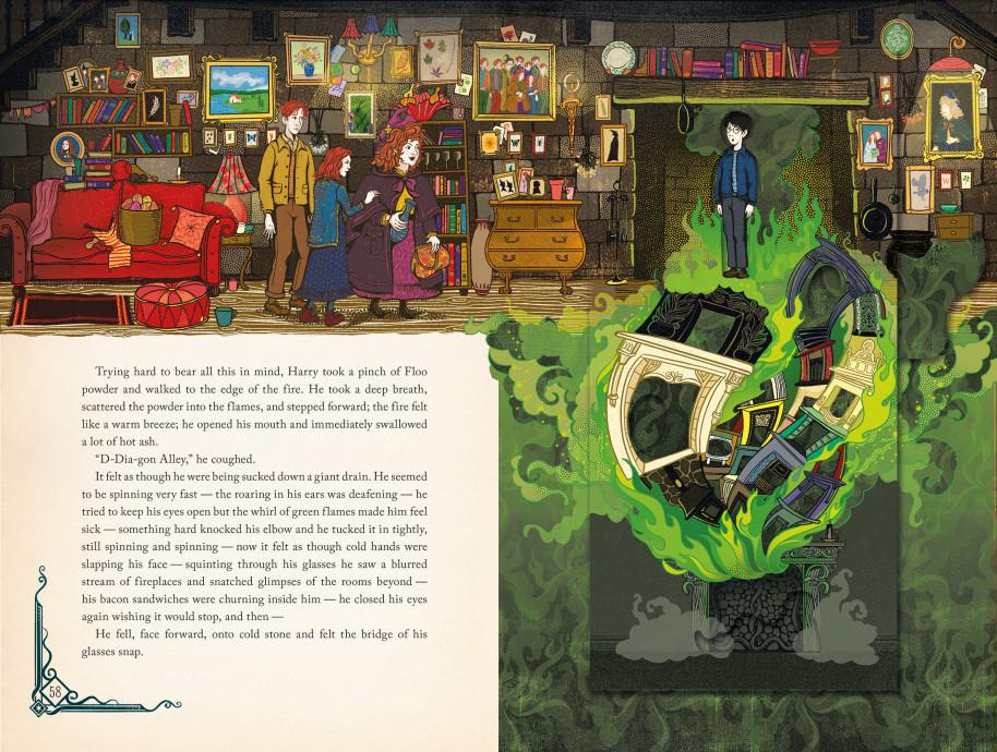 A viagem de pó de flu em Harry Potter e a Câmara Secreta, ilustrado pelo estúdio MinaLima
