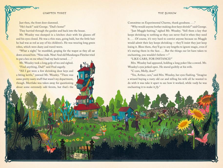A Toca da família Weasley em Harry Potter e a Câmara Secreta, ilustrada pelo estúdio MinaLima
