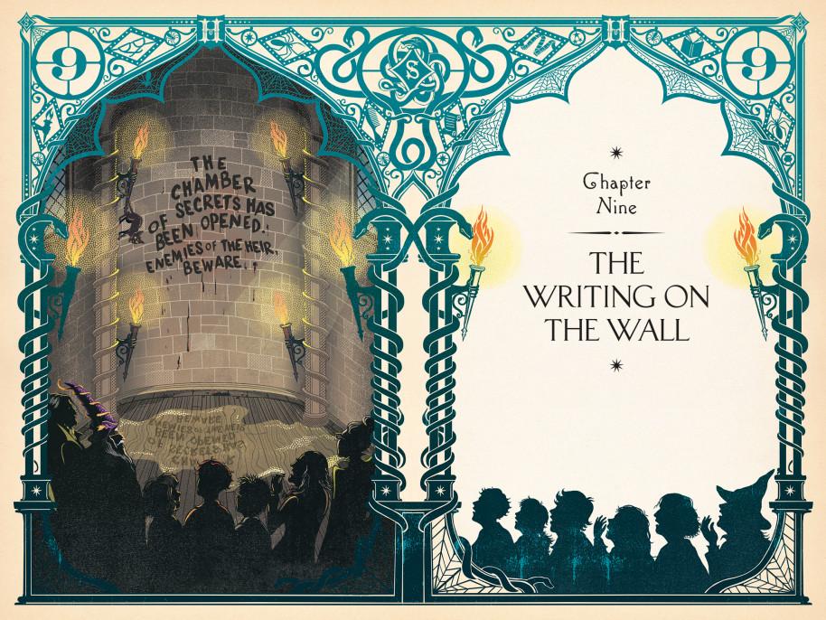 Introdução do capítulo em que a Câmara Secreta é aberta em Harry Potter, ilustrada pelo estúdio MinaLima