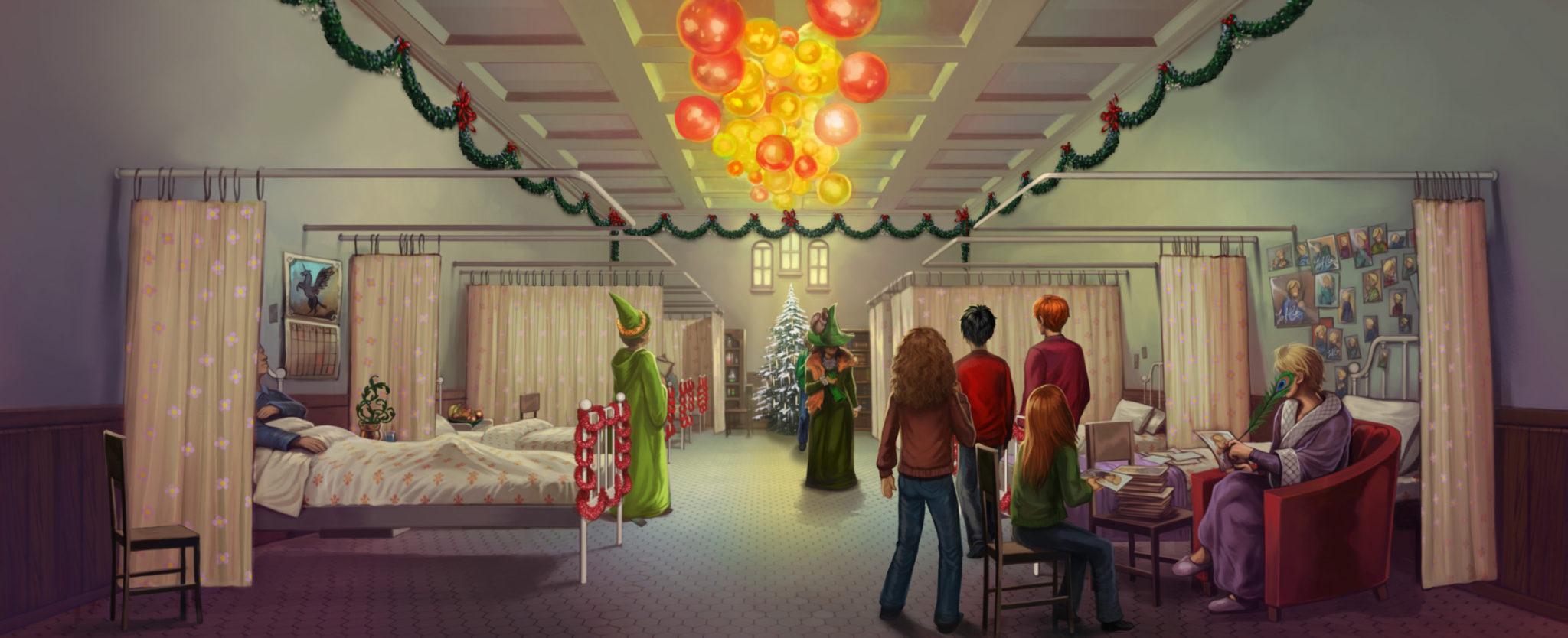 De costas, Hermione, Harry, Rony e Gina visitam Arthur Weasley no Hospital St. Mungus, decorado para o Natal. Todos estão olhando para a avó de Neville, no fundo da imagem. A bruxa tem seu rosto encoberto por seu chapéu.
